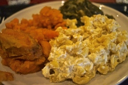 vegan mac and cheese, candied yams, savory collard greens - photo courtesy of The Harrises of Chicago